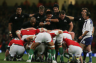 The teams scrum down. Invesco Perpetual series 2008 autumn international match, Wales v New Zealand at the Millennium Stadium on Sat 22nd Nov 2008. pic by Andrew Orchard, Andrew Orchard sports photography,