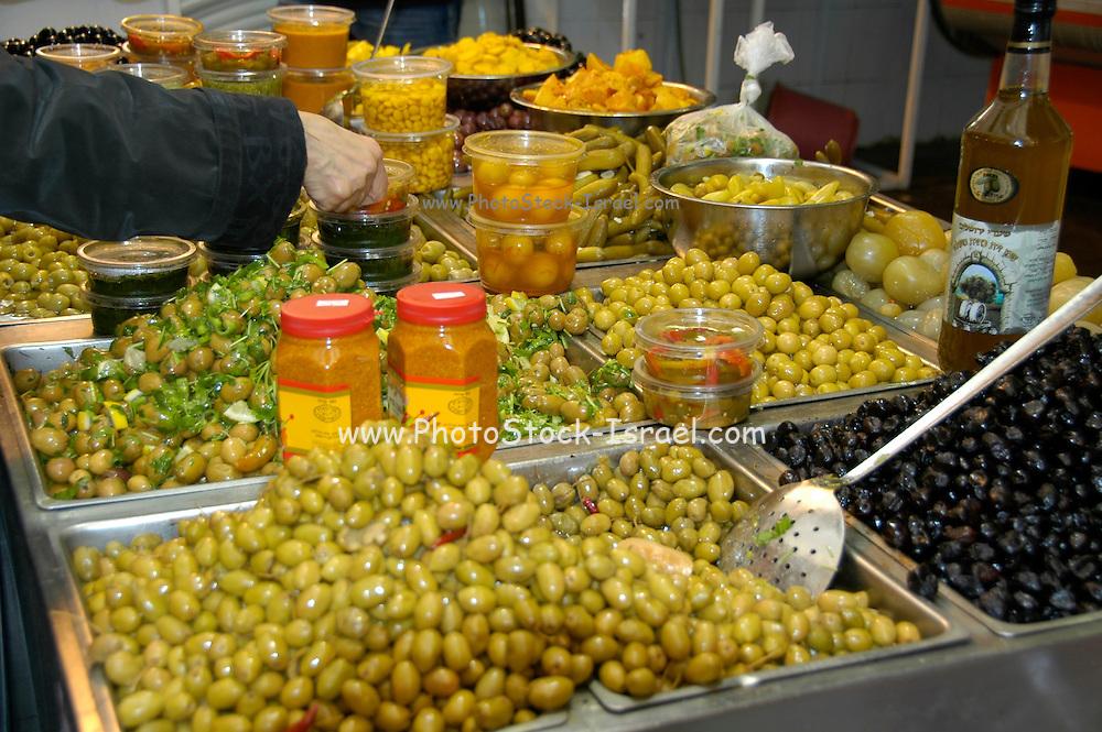 Green Olives on sale Photographed at Machane Yehuda Market, Jerusalem, Israel