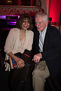 LADY NAIPAUL, ANDREW LYCETT, Literary Review  40th anniversary party and Bad Sex Awards,  In & Out Club, 4 St James's Square. London. 2 December 2019
