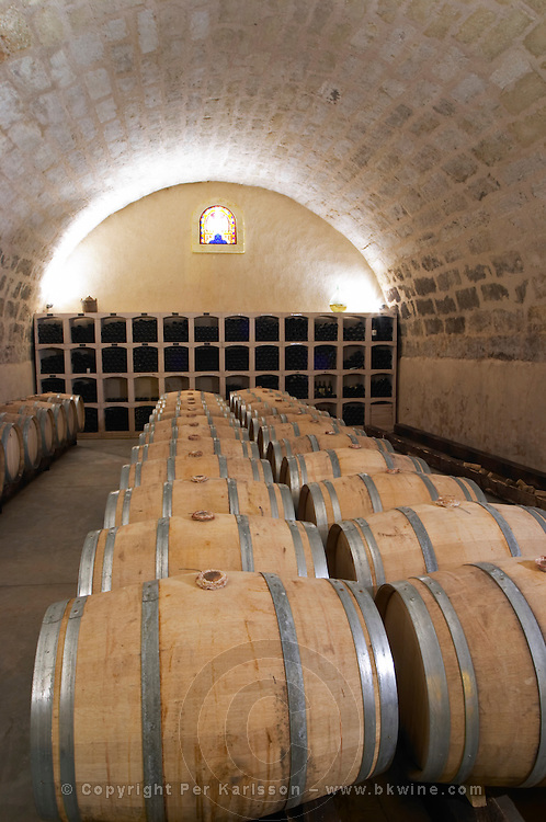 Chateau St Martin de la Garrigue. Languedoc. Barrel cellar. France. Europe.