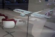 Qatar Airways has shed more than 9,000 jobs during the pandemic lockdowns and a model of their Boeing 787 Dreamliner is on a stand in the airline's offices on Conduit Street in Mayfair, on 24th June 2020, in London, England. A further 154 covid deaths have been reported in the last 24hrs, bringing the total to 43,081 in the UK during the Coronavirus pandemic.