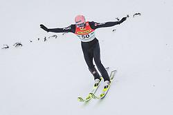 16.02.2020, Kulm, Bad Mitterndorf, AUT, FIS Ski Flug Weltcup, Kulm, Herren, 1. Wertungsdurchgang, im Bild Karl Geiger (GER) // Karl Geiger of Germany during his 1st Competition Jump for the men's FIS Ski Flying World Cup at the Kulm in Bad Mitterndorf, Austria on 2020/02/16. EXPA Pictures © 2020, PhotoCredit: EXPA/ JFK