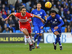 Ryan Shotton of Middlesbrough competes with Armand Traore of Cardiff City- Mandatory by-line: Nizaam Jones/JMP - 17/02/2018 -  FOOTBALL - Cardiff City Stadium - Cardiff, Wales -  Cardiff City v Middlesbrough - Sky Bet Championship