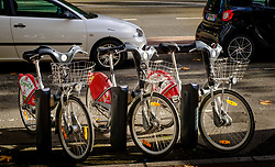 Hire bicyclies in the Boulevard de Strasbourg, Toulouse, France<br /> <br /> (c) Andrew Wilson | Edinburgh Elite media