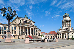 View of Gendarmenmarkt square and Konserthaus and Franzosischer Dom in Mitte district of Berlin Germany
