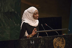 September 16, 2016 - New York, NY, United States - Emi Mahmoud addresses the General Assembly. Three days before the opening of the United Nations high-level Summit on Addressing Large Movements of Migrants and Refugees (September 19), Actor Ben Stiller and former refugee celebrities presented a petition from the #WithRefugees campaign to the UN.  On behalf of the UN, Secretary-General Ban Ki-moon and UN High Commissioner for Refugees Filippo Grandi participated in the event. (Credit Image: © Albin Lohr-Jones/Pacific Press via ZUMA Wire)