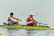 St Catherines, CANADA,  Men's Pair, CAN M2- Dave CALDER , Morgan CROOKS,  competing at the 1999 World Rowing Championships - Martindale Pond, Ontario. 08.1999..[Mandatory Credit; Peter Spurrier/Intersport-images]  ..St Catherines, CANADA,    CAN M2-.  stroke, Dave CALDER and  Morgan CROOKS. 1999 World Rowing Championships - Martindale Pond, Ontario. 08.1999..[Mandatory Credit; Peter Spurrier/Intersport-images]    .... 1999 FISA. World Rowing Championships, St Catherines, CANADA