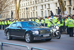 © Licensed to London News Pictures. 07/03/2018. LONDON, UK.  Convoy of vehicles carrying Mohammed bin Salman (not seen), Crown Prince of Saudi Arabia, arrives at Downing Street amid a heavy police presence. Photo credit: Cliff Hide/LNP