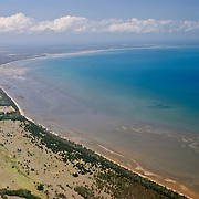 Aerial shot from the plane from Lady Elliot Island to Hervey Bay
