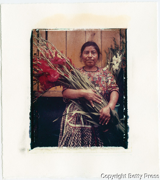 Selling flowers in the main market of Antigua, Guatemala<br /> Image size 4x5, Matted 12x10 Edition of 25 <br /> Archival Pigment Print