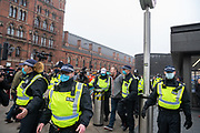 A rally organised against lockdown restrictions took place at Kings Cross Station in London, on Saturday Nov 28, 2020. Police approached members of the public who were not wearing face masks and arrested as well as detained some of them. (Photo: VXP /Erica Dezonne)