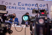"Tomio Okamura seen through the viewfinder of a television camera during the press conference of the European anti-migrant parties ""Europe of Nations and Freedom"" (ENF) in Prague. Attending were Marie Le Pen from France, Geert Wilders from Holland and Tomio Okamura of the Freedom and Direct Democracy (SPD) movement from Czech Republic which was hosting the meeting. Prague, 16.12.2017"