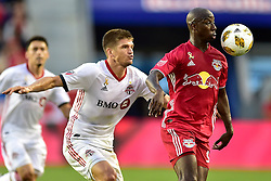 September 22, 2018 - Harrison, New Jersey, USA - New York Red Bulls Forward  BRADLEY WRIGHT-PHILLIPS (99) and Toronto FC Defender NICK HAGGLUND (6) in action at Red Bull Arena in Harrison New Jersey New York defeats Toronto 2 to 0 (Credit Image: © Brooks Von Arx/ZUMA Wire)