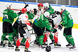 Players roughing during ice hockey match between HK SZ Olimpija and HDD SIJ Acroni Jesenice in fifth game of Final at Slovenian National League, on May 10, 2021 in Hala Tivoli, Ljubljana, Slovenia. Photo by Matic Klansek Velej / Sportida