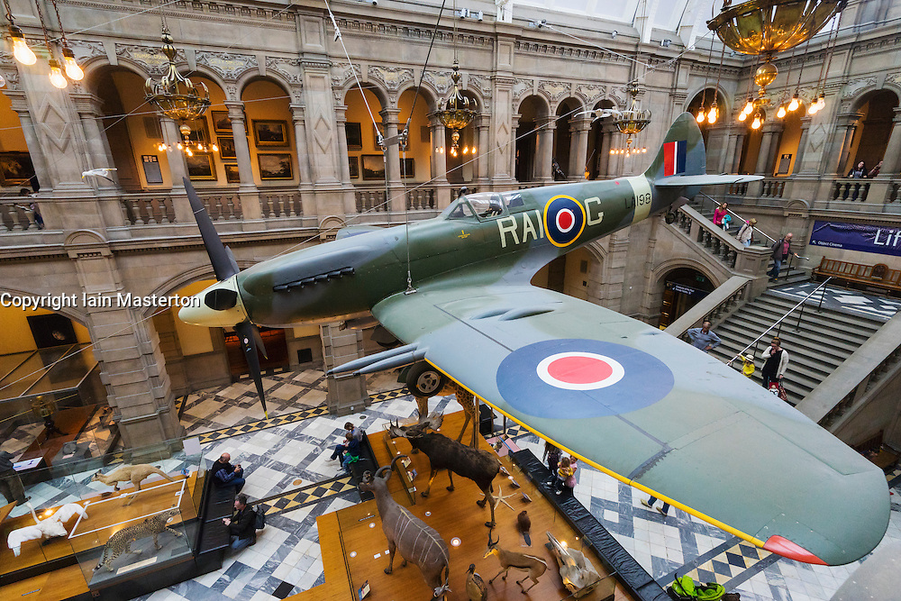 Spitfire fighter on display in Kelvingrove Art Gallery and Museum in Glasgow United Kingdom