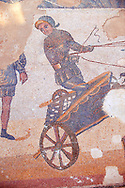 Close up of a chariot racing at the Circus Maximus Chariot racing at the Circus Maximus from the Palaestra room no 15.. Roman mosaics at the Villa Romana del Casale which containis the richest, largest and most complex collection of Roman mosaics in the world. Constructed  in the first quarter of the 4th century AD. Sicily, Italy. A UNESCO World Heritage Site. .<br /> <br /> If you prefer to buy from our ALAMY PHOTO LIBRARY  Collection visit : https://www.alamy.com/portfolio/paul-williams-funkystock/villaromanadelcasale.html<br /> Visit our ROMAN MOSAIC PHOTO COLLECTIONS for more photos to buy as buy as wall art prints https://funkystock.photoshelter.com/gallery/Roman-Mosaics-Roman-Mosaic-Pictures-Photos-and-Images-Fotos/G00008dLtP71H_yc/C0000q_tZnliJD08