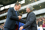 West Ham United manager Slaven Bilic shakes hands with Jose Mourinho, the Chelsea manager before k/o. Barclays Premier League, West Ham Utd v Chelsea at The Boleyn Ground, Upton Park in London on Saturday 24th October 2015.<br /> pic by John Patrick Fletcher, Andrew Orchard sports photography.