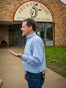 17 MAY 2019 - MESKWAKI, IOWA: Governor STEVE BULLOCK (D-MT) leaves the community building at the Meskwaki settlement, a Native American community in Iowa after campaigning in the community. Gov. Bullock joined a crowded field of Democrats vying to be the party's Presidential nominee in 2020. Iowa traditionally hosts the the first election event of the presidential election cycle. The Iowa Caucuses will be on Feb. 3, 2020.                      PHOTO BY JACK KURTZ
