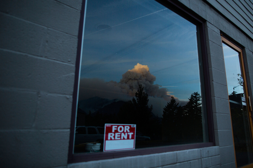Sept. 13, 2017   A reflection of the Eagle Creek Fire in the Columbia River Gorge, Oregon seen from Stevenson, WA