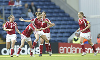 Fotball<br /> Em 2005 kvinner<br /> 08.06.2005<br /> England v Danmark<br /> Foto: SBI/Digitalsport<br /> NORWAY ONLY<br /> <br /> Denmark's Merete Pedersen shows her joy after scoring the eqaulising goal from a free kick