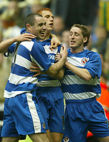 Photo Aidan Ellis, Digitalsport<br /> NORWAY ONLY<br /> <br /> Reading v West Bromwich Albion.<br /> Nationwide Divison 1.<br /> 01/05/2004.<br /> Reading's Steve Sidwell (centre) is congratulated by teammates Andy Hughes (left) and Paul Brooker after he scored the only goal of the game