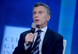 President of Argentina Mauricio Macri at the annual meeting of the Clinton Global Initiative (CGI) in New York City, NY, USA, on Monday, September 19, 2016. The annual CGI meetings bring together heads of state, leading CEOs, philanthropists, and members of the media to facilitate discussion and forward-thinking initiatives that challenge the way we impact the future. Photo by Dennis van Tine/ABACAPRESS.COM