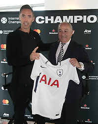 April 19, 2018 - Los Angeles, California, U.S - The 2018 International Champions Cup organizers announced the teams and schedule for the summer soccer tournament featuring top European clubs during a press conference on Thursday April 19, 2018 at OUE Skyspace LA in Los Angeles, California. NBA legend, Steve Nash poses with Osvaldo Ardiles Tottenham Hotspur. (Credit Image: © Prensa Internacional via ZUMA Wire)