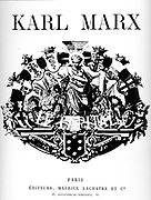 Title Page  from a French edition of the book 'Das Kapital by Karl Marx. Circa 1920