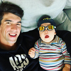 """Michael Phelps releases a photo on Instagram with the following caption: """"I think he\u2019s ready to go !! \ud83d\ude02\ud83d\ude02"""". Photo Credit: Instagram *** No USA Distribution *** For Editorial Use Only *** Not to be Published in Books or Photo Books ***  Please note: Fees charged by the agency are for the agency's services only, and do not, nor are they intended to, convey to the user any ownership of Copyright or License in the material. The agency does not claim any ownership including but not limited to Copyright or License in the attached material. By publishing this material you expressly agree to indemnify and to hold the agency and its directors, shareholders and employees harmless from any loss, claims, damages, demands, expenses (including legal fees), or any causes of action or allegation against the agency arising out of or connected in any way with publication of the material."""
