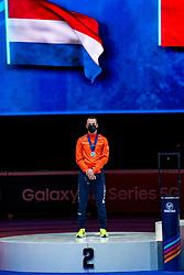 Itzhak de Laat of Netherlands silver medal on 1500 meter during ceremony ISU World Short Track speed skating Championships on March 06, 2021 in Dordrecht
