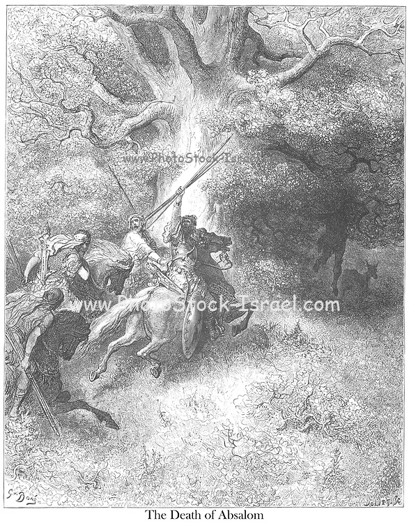 Death of Absalom [Son of King David] 2 Samuel 18:9 From the book 'Bible Gallery' Illustrated by Gustave Dore with Memoir of Dore and Descriptive Letter-press by Talbot W. Chambers D.D. Published by Cassell & Company Limited in London and simultaneously by Mame in Tours, France in 1866