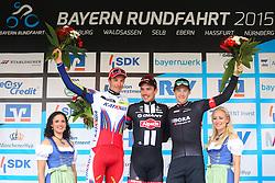 Radsport: 36. Bayern Rundfahrt 2015 / 5. Etappe, Hassfurt - Nuernberg, 17.05.2015<br /> Cycling: 36th Tour of Bavaria 2015 / Stage 5, <br /> Hassfurt - Nuernberg, 17.05.2015<br /> Siegerehrung - podium,<br /> # 46 Selig, Ruediger (GER, TEAM KATUSHA), # 51 Degenkolb, John (GER, TEAM GIANT - ALPECIN), # 112 Barta, Jan (CZE, Team BORA-ARGON 18)