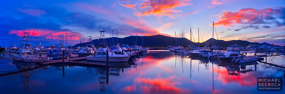 A panoramic photograph of dawn over the Cairns Marlin Marina.<br /> <br /> Limited Edition Print