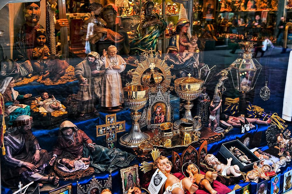 Religious articles shop, Madrid, Spain