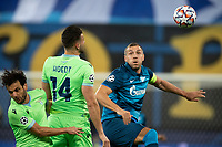 SAINT PETERSBURG, RUSSIA - NOVEMBER 04: Wesley Hoedt of SS Lazio beats Artem Dzyuba of Zenit St Petersburg to the header during the UEFA Champions League Group F stage match between Zenit St. Petersburg and SS Lazio at Gazprom Arena on November 4, 2020 in Saint Petersburg, Russia. (Photo by MB Media)