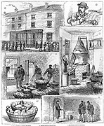 Fenian explosives conspiracy, 1883: Police discovery of nitro-glycerine factory in the Ladywood district of Birmingham.  From 'The Illustrated London News', 14 April 1883.