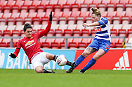 Readingmidfielder Rachel Rowe (23) is fouled during the FA Women's Super League match between Manchester United Women and Reading LFC at Leigh Sports Village, Leigh, United Kingdom on 7 February 2021.