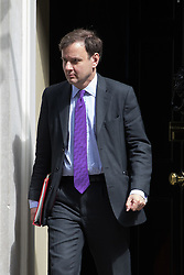 Downing Street, London, May 17th 2016. Chief Secretary to the Treasury Greg Hands leaves the weekly cabinet meeting in Downing Street.