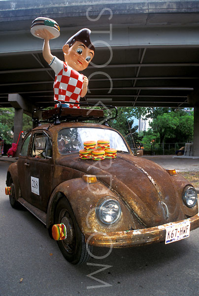 Stock photo of a car decorated with classic drive-in decor
