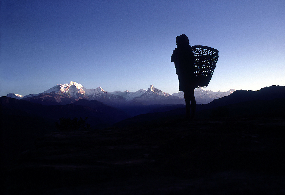 Nepal. Dawn breaks over the Himlayan range towards Annapurna and Dhaulagiri.1969. Photographed by Terry Fincher