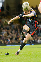 Rugby Union - 2016 / 2017 Pro12 - [Judgement Day V]: Newport Gwent Dragons vs. Scarlets<br /> <br /> Angus O'Brien of Newport Gwent Dragons kicks a penalty, at Principality Stadium [Millennium Stadium], Cardiff.<br /> <br /> COLORSPORT/WINSTON BYNORTH