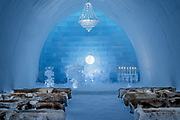 Ice Hotel amazing suites entirely made of ice and snow<br /> <br /> ICE HOTEL, 19 individually themed and hand crafted art suites have been newly designed by creatives from across the world – from a swedish artist who made a giant snow elephant in the room, to a french team who fused snow, ice and disco into a groovy sleeping experience. each year, the hotel creates a new series of artist-designed accommodation spaces that add to the existing landscape of  private rooms.<br /> <br /> the amount of snow used to create its more than 50 bedrooms, church and a bar would make 700 million snowballs, while the chandeliers alone are made from 1,000 hand cut ice crystals. thematically, this year's edition features flocks of animals from elephants to peacocks, patterns drawn from nature, architecturally-motivated designs and theater-inspired schemes.<br /> ©icehotel.com/Exclusivepix media