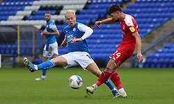 Ryan Broom of Peterborough United closes down Rob Hunt of Swindon Town - Mandatory by-line: Joe Dent/JMP - 03/10/2020 - FOOTBALL - Weston Homes Stadium - Peterborough, England - Peterborough United v Swindon Town - Sky Bet League One