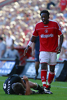 Photo: Jo Caird<br />Charlton v Manchester United at The Valley.<br />13/09/2003.<br /> Jason Euell is sent off after tackling  Gary Neville