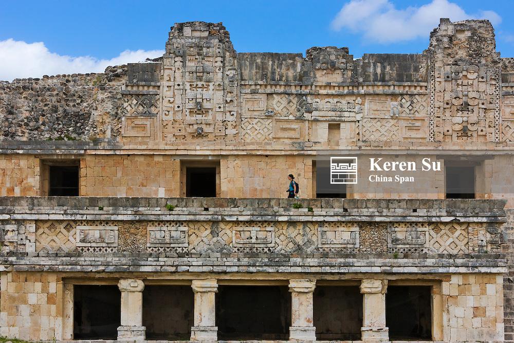 Nunnery Quadrangle, showing the mosaic-like works on the buildings, Uxmal, Yucatan, Mexico