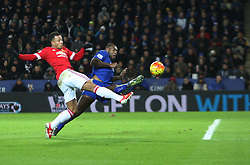 Memphis Depay of Manchester United (L) has a shot at goal   - Mandatory byline: Jack Phillips/JMP - 07966386802 - 28/11/2015 - SPORT - FOOTBALL - Leicester - King Power Stadium - Leicester City v Manchester United - Barclays Premier League