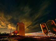Clouds and grain elevator at night<br />DUFRESNE<br />Manitoba<br />Canada