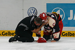 03.10.2011, TUI Arena, Hannover, GER, DEL, Hannover Scorpions vs Eisbaeren Berlin, im Bild ein verletzter Stephan Wilhelm (Hannover #15).// during the match from GER, DEL, Hannover Scorpions vs Eisbaeren Berlin on 2011/10/03, TUI Arena, Hannover, Germany. .EXPA Pictures © 2011, PhotoCredit: EXPA/ nph/  Schrader       ****** out of GER / CRO  / BEL ******