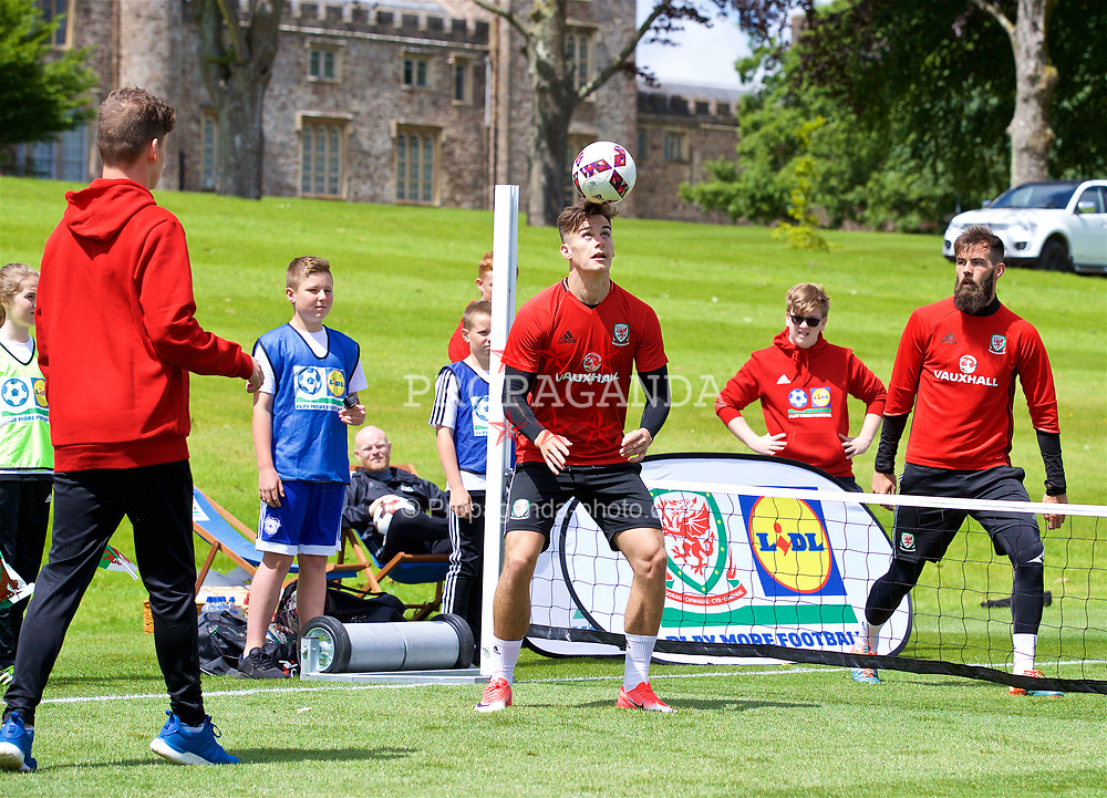CARDIFF, WALES - Wednesday, June 7, 2017: Wales' Tom Lawrence during a Lidl Play More Football filming session at the Vale Resort ahead of the 2018 FIFA World Cup Qualifying Group D match against Serbia. (Pic by David Rawcliffe/Propaganda)