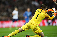 England goalkeeper Jack Butland (1) makes a save during the Friendly match between England and Italy at Wembley Stadium, London, England on 27 March 2018. Picture by Toyin Oshodi.